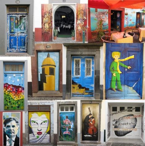 Over 200 works of art grace the doors along Rua de Santa Maria