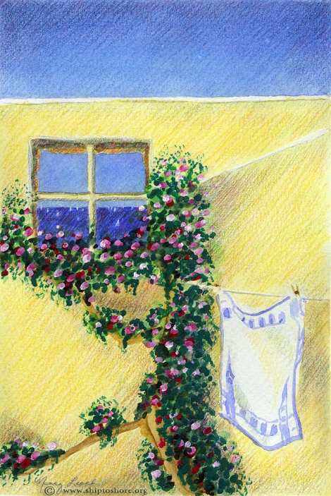 "<img src=""playa-de-luz-watercolor-and-colored-pencil.jpg "" alt=""Courtyard Praia da Luz painting"">"